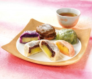 いきなり団子5種(プレーン・紫芋・よもぎ・黒糖・さくら)